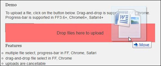 Ajax Upload- A file upload script with progress-bar drag-and-drop