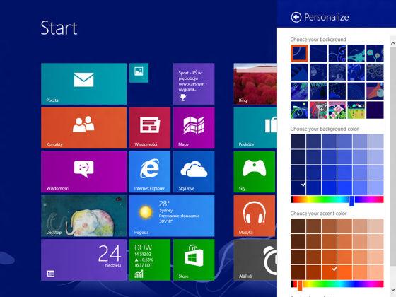 Windows Blue提供了更丰富的色彩个性化选项
