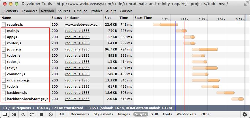 Loaded JavaScript Files List