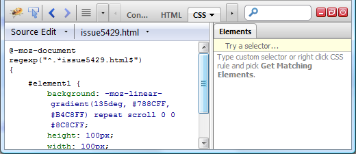 @-moz-document rules inside CSS panel