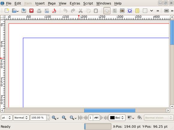 该图显示了 Scribus 中一个仅包含布局的新文档