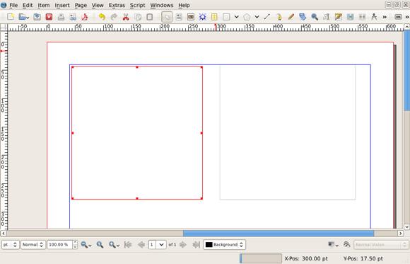 该图显示了 Scribus 文档中的一个空框架