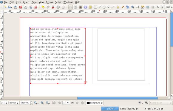 该图显示了一个文本框架中导入的文本