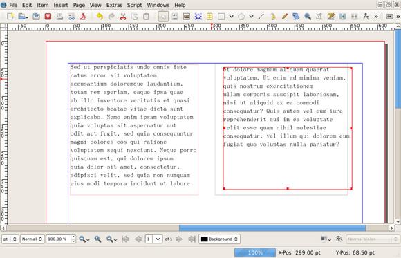 该图显示了 Scribus 中链接的文本框架