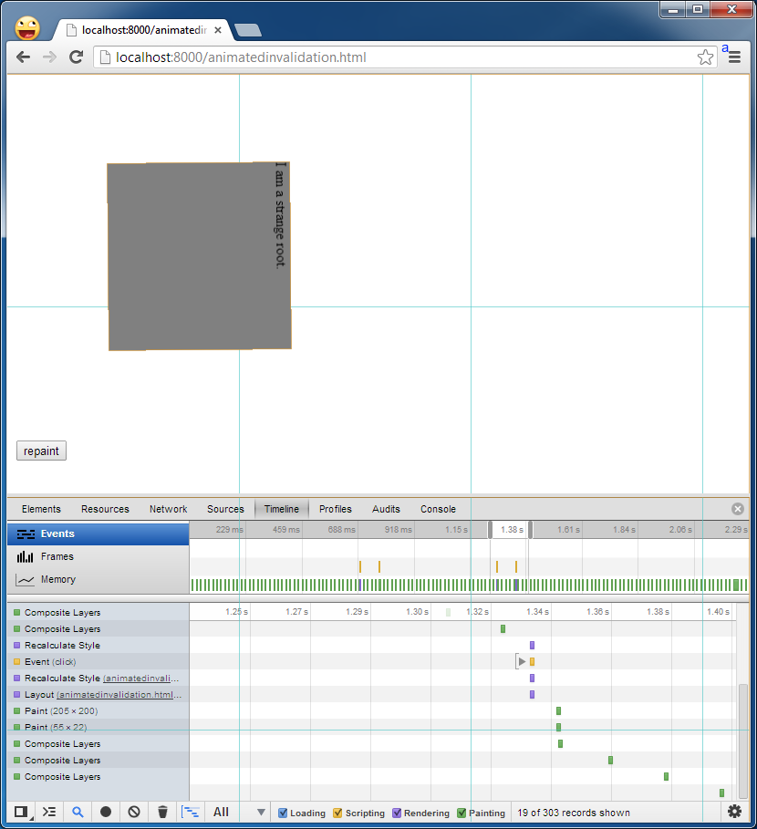 Screenshot of Dev Tools Timeline repainting a layer