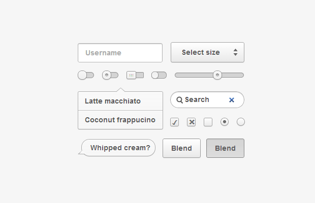grey css user interface kit coconut dribbble