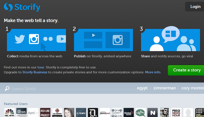 storify icons homepage startup