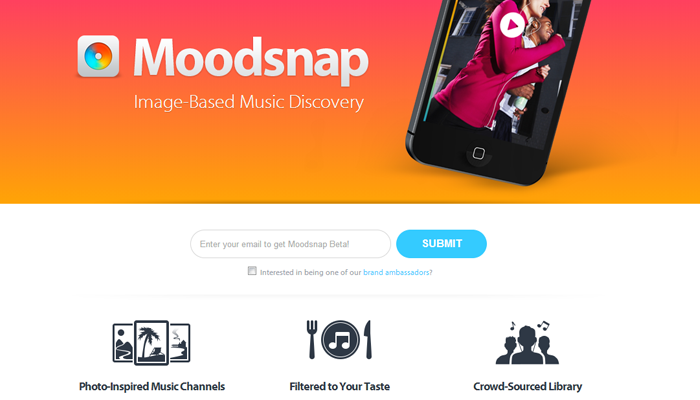 mobile app moodsnap website layout design icons features