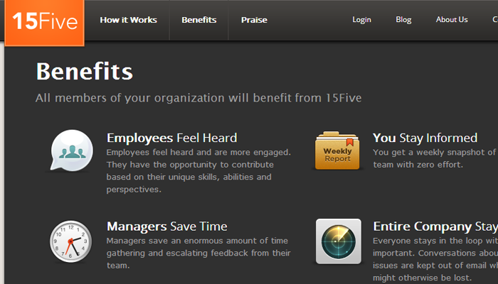 15five website employee engagement icons homepage details
