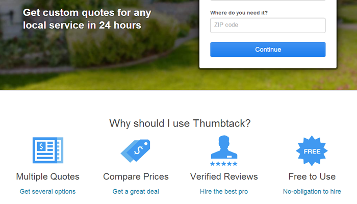 thumbtack startup homepage website inspiration icon details