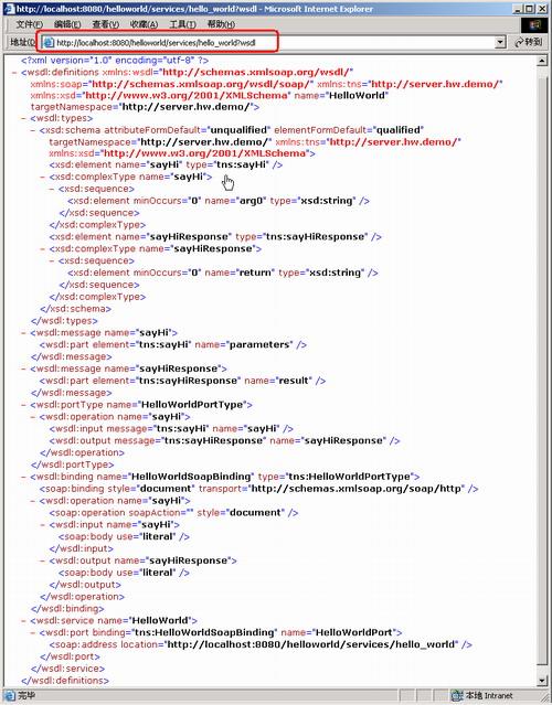 图 3. 在 Tomcat 5.5.25 上面成功部署 CXF Web Service 的示意图
