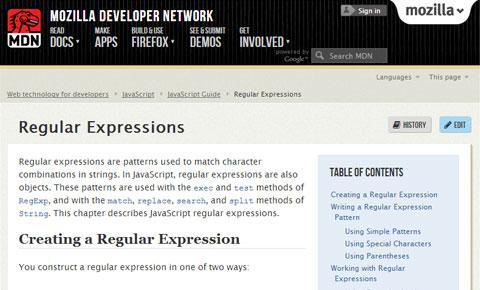 Mozilla Regex Guide