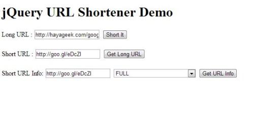 jQuery URL Shortener