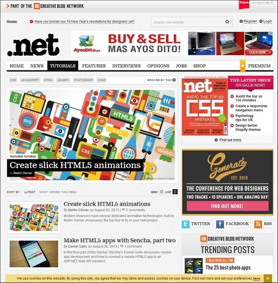 Net Magazine, is stuffed with great tutorials on pretty much anything you can imagine, need a tutorial on HTML, CSS, JavaScript, jQuery, then they are your go to guys.