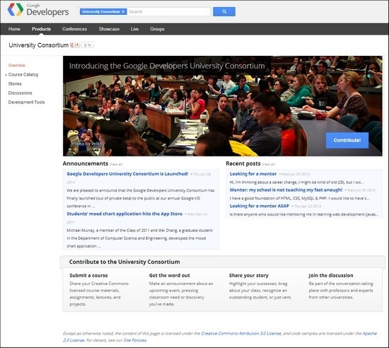 The Google Developers University Consortium offers a ton of great courses for developers interested in working with Google products.