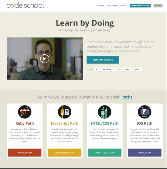Codeschool is yet another another online teaching website which is full of video lessons, coding drills, and screencasts  related to many renowned technologies.