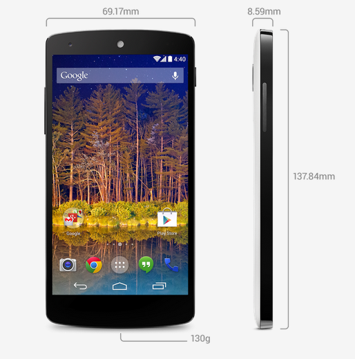 The dimensions of the Nexus 5