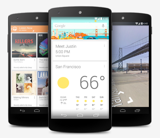 Google Now features prominently in Android KitKat