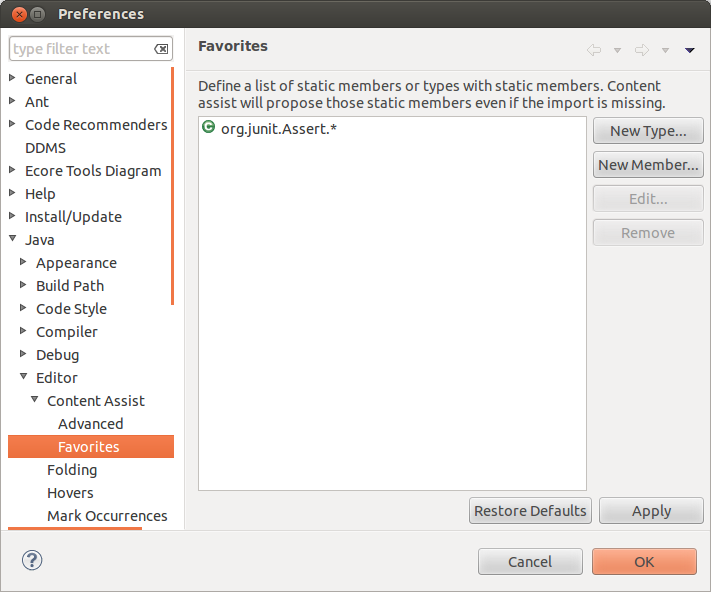 Adding static imports to the preferences