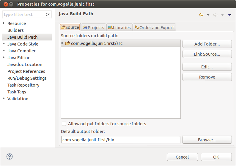 Create new source folder for the tests
