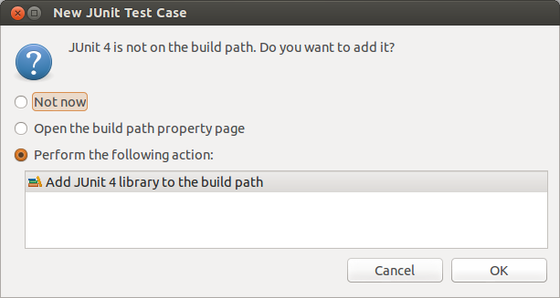 Eclipse prompt for adding JUnit to the project classpath