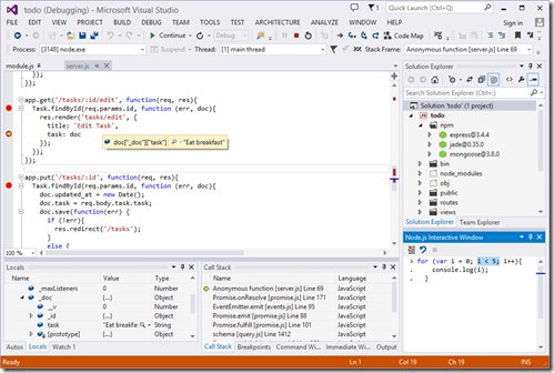 node.js Tools for Visual Studio