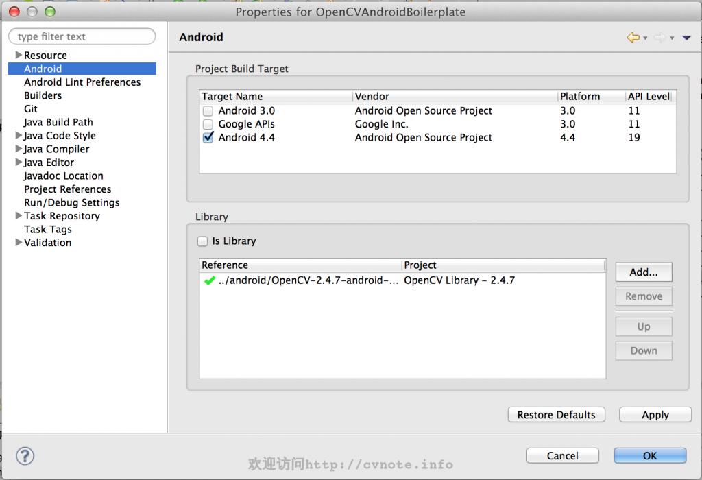 在项目中导入OpenCV SDK库