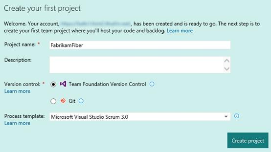 Create your first team project from this view