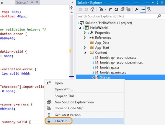 Check in from the context menu in the solution explorer