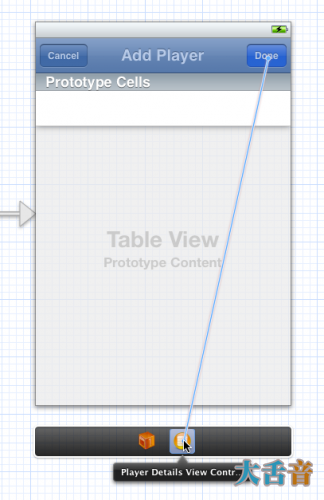 Connecting the action of a bar button item to the view controller in the storyboard editor