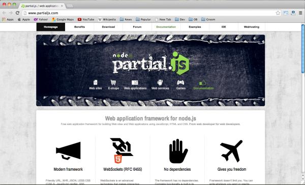 best node.js web framework - partialjs