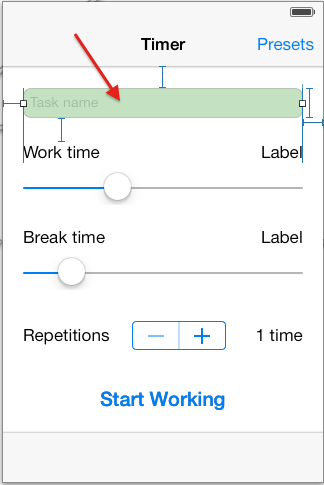 Timer view in storyboard
