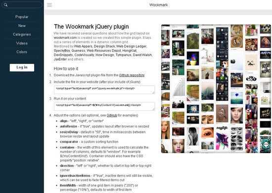 6. Wookmark JQuery Plugin