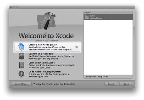 Welcome To Xcode dialog with Create New Project button highlighted