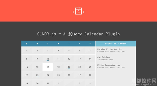 jQuery,日历插件,CLNDR