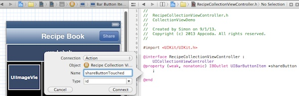 UICollectionView Share Button IBAction