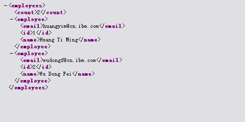 包含员工姓名、ID 和电子邮件的 XML 输出