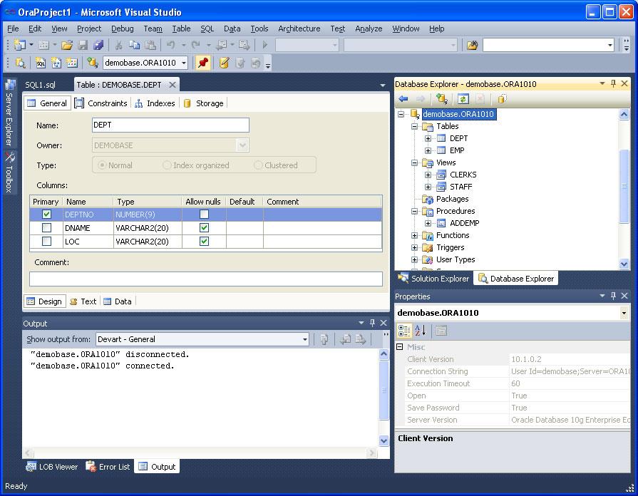 General OraDeveloper Tools view in Visual Studio 2010