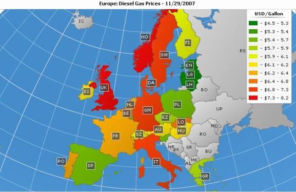 欧洲:柴油天然气价格