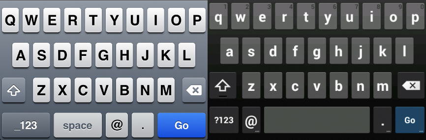 iOS (left) and Android (right) Keyboards for Email Inputs