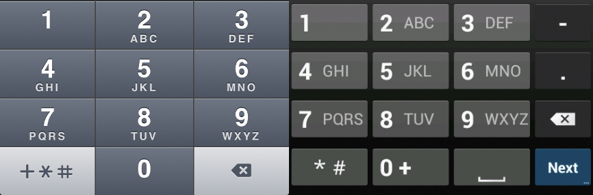 iOS (left) and Android (right) Keypads for Telephone Inputs