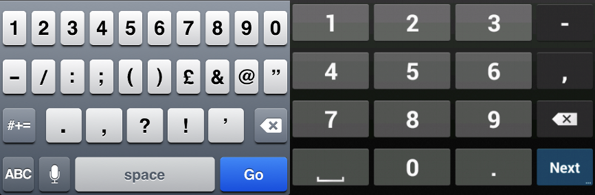 iOS (left) and Android (right) Keyboards for Number Inputs