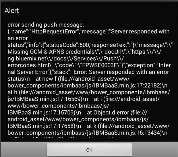 Screenshot shows an example of the GCM & APNS credentials error message