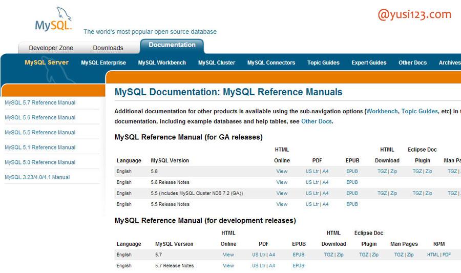 MySQL Documentation(MySQL文档)
