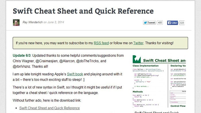 Swift Cheat Sheet and Quick Reference