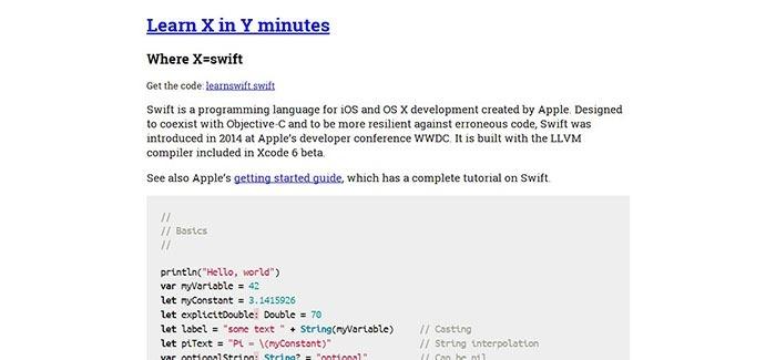 Learn swift in Y Minutes
