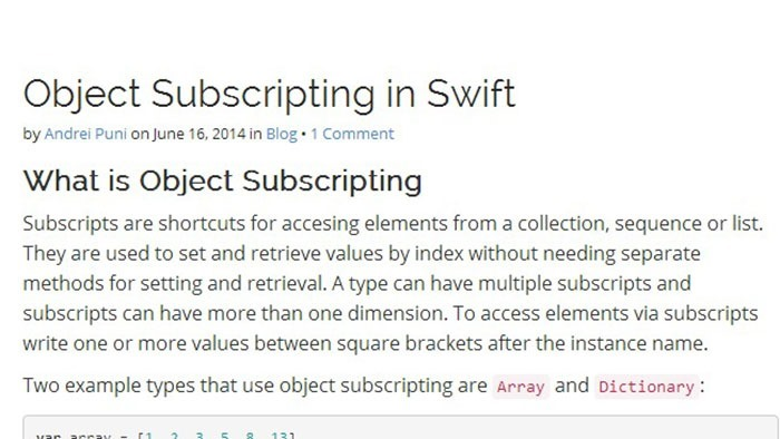 Object Subscripting in Swift