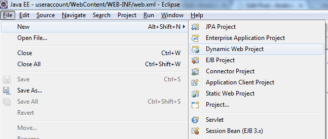 Create Dynamic Web Project - Step 1