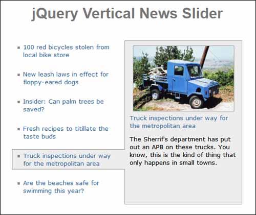 Free jQuery Vertical News Slider