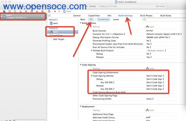 Xcode5免证书真机调试-修改Code Signing Identity